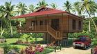 Chine Pavillons à la maison en bois légers de plage de cadre en acier avec la douche, cuisine usine