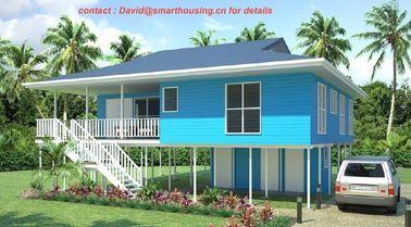 Chine Pavillon préfabriqué à deux étages ignifuge de plage, pavillons à la maison bleus de plage distributeur